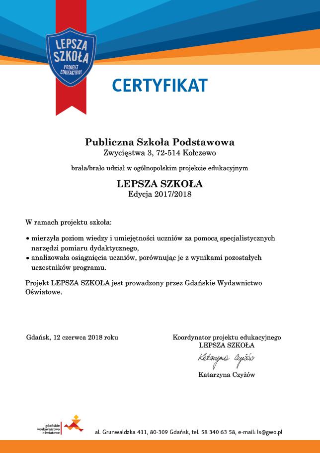 Certyfikat Lepszej Szkoły